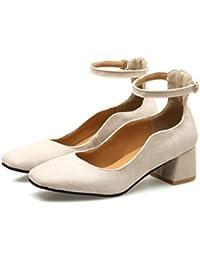 CXQ-Talons QIN&X Femme Bloc carré Peu Profond Tête Bouche Chaussures,Vin Rouge,37