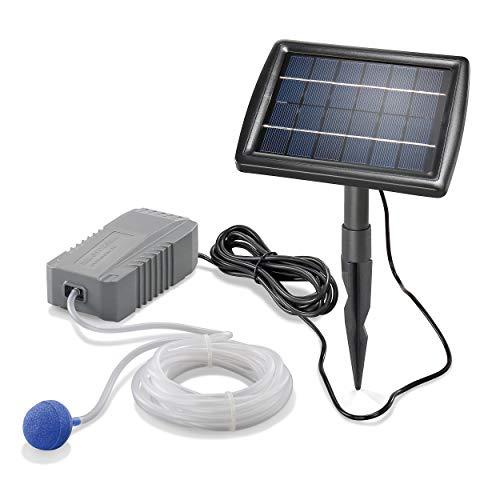 Solar Teichbelüfter Professional - 2W Solarmodul 130 l/h Luft - großes Solarmodul für beste Funktion - Gartenteich Belüftung Sauerstoffpumpe Teich Luftpumpe Teichpumpe esotec pro 101840