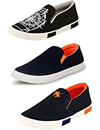 Maddy Men's Combo Pack of 3 Loafers & Moccasins For Men in Various Sizes (MOC-1 BLK, MOC-2 BLU, PILOT-5 BLU)