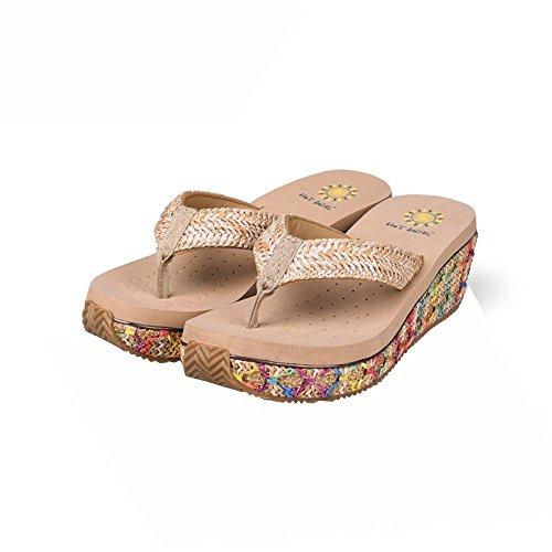 Chaussures Femmes Talon Cuir Flip Flip Sandales Loisirs Bohemia Plus de couleurs à choisir 5265 beige