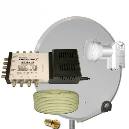 PremiumX 80 cm Sat Schüssel Spiegel + 5/8 Multischalter + Quattro Opticum LNB 0,1dB + 50m Reines Kupfer Koaxial Kabel