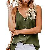 Camisetas sin Mangas de Verano para Mujer Camisas Mujer Fiesta Cuello en V botón Tirantes Camiseta de Tirantes Mujer Camiseta Deportiva Camisa de Verano sin Mangas Camisola Tops Tamaño Grande