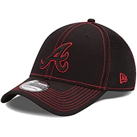 Atlanta Braves MLB New Era 39THIRTY Black Team Neo Fitted Hat Cappello