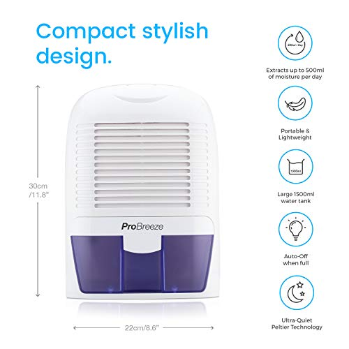 Pro Breeze 1500 ml tragbarer und kompakter mini Luftentfeuchter - 3