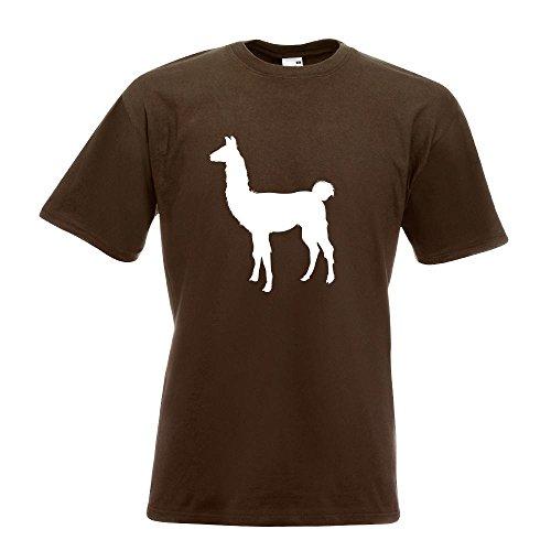 KIWISTAR - Lama Alpaca Kamel T-Shirt in 15 verschiedenen Farben - Herren Funshirt bedruckt Design Sprüche Spruch Motive Oberteil Baumwolle Print Größe S M L XL XXL Chocolate