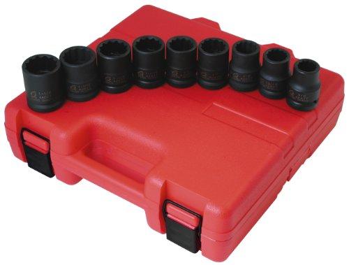 9 pièces 3/10,2 cm Drive 12 Standard Point Impact Socket Set
