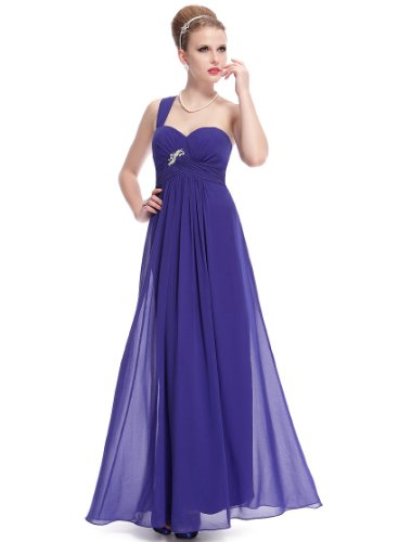 Ever Pretty Robe de cocktail longue Mousseline de style Empire 09982 Bleu Saphir