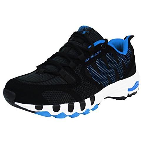 Delcord Mens Running Shoes Walking Footwear Size 9UK 10USA 45EUR Black+Blue