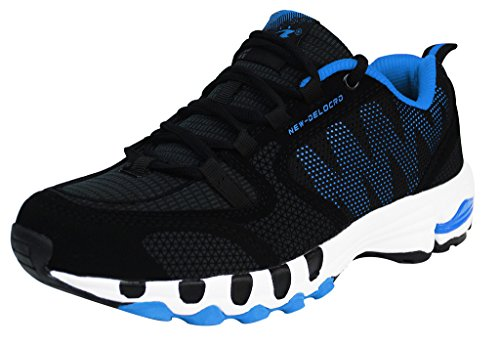 Delocrd Mens Running Shoes Walking Footwear UK Size 11.5 Black+Blue (EU 48)