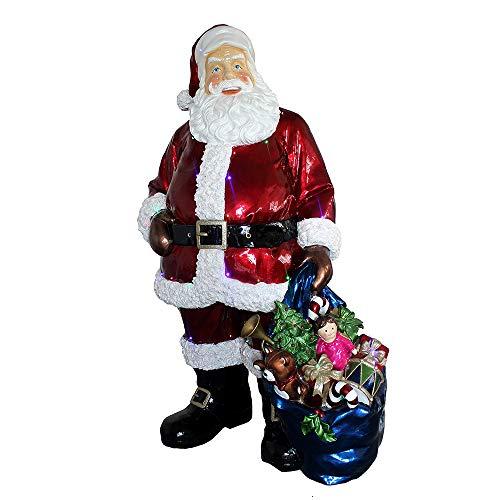 Unbekannt Sigro Deco Santa Claus Figur mit LED Beleuchtung und Adapter, Polystone, Mehrfarbig, 83,8x 116,8x 189.2cm