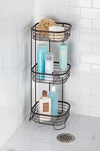 Mdesign scaffale doccia angolare da terra portaoggetti e - Accessori bagno fai da te ...