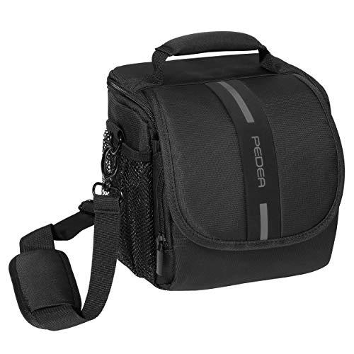 """PEDEA DSLR-Kameratasche \""""Essex\"""" Fototasche für Spiegelreflexkameras mit wasserdichtem Regenschutz, Tragegurt und Zubehörfächern, Gr. M schwarz/grau"""