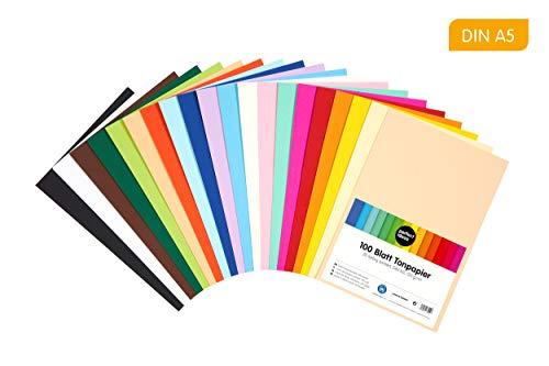 perfect ideaz 100 Blatt buntes DIN-A5 Ton-Papier, Ton-Zeichen-Papiere bunt, Set aus 20 Farben, bunte Blätter in 120g/m², Bastel-Bogen farbig, Zubehör zum Basteln, farbiges Material, DIY-Bedarf