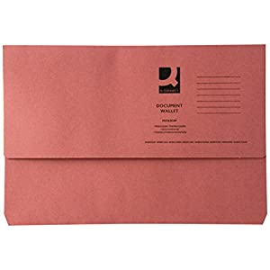 Q-Connect KF23015285gsm Foolscap Document Wallet - Pink(Pack of 50)