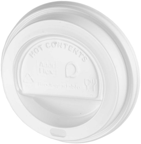 Thali Outlet - 100 x White Sip-Though Lids Fits 10oz 12oz 16oz 20oz Paper Cups - Disposable Biodegradable Test