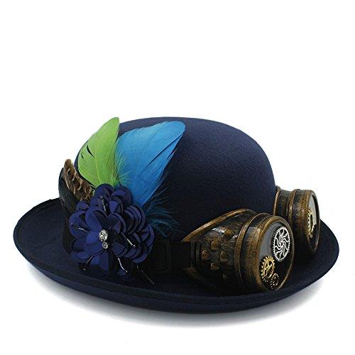 ür Frauen Getriebe Brille Cosplay Hut Halloween Feder Party Top Hut Klassische Handarbeit Fedora Hut Steampunk Bowler Hut (Color : Dark Blue, Size : 58CM) (Halloween Getriebe)