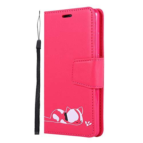 ZCXG Kompatibel Mit Hülle Huawei P30 Handyhülle Leder,Schutzhülle Huawei P30 Hülle Silikon Slim Weich Tasche Klapphüllen mit Kreditkartenhaltern Magnet Brieftasche,Rosa Rot