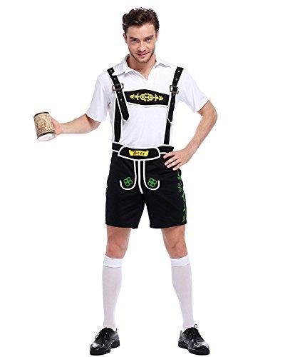 n Mode Oktoberfest Beer Kostüm Lederhose T-Shirt und Hosen Cosplay Halloween Performance Kleidung, Schwarz, EU S=Tag M ()