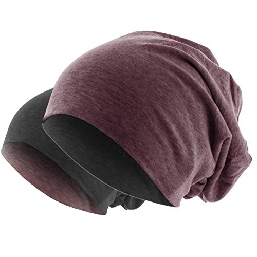 Hatstar Slouch Long Beanie 2in1 Reversible Jersey Mütze in 44 Farben (dunkelgrau/braun meliert) Wool Beanie Herren