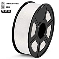 SUNLU ABS Filament 1.75mm 3D Printer Filament ABS Tangle-Free 1kg Spool (2.2lbs), Dimensional Accuracy of +/- 0.02mm ABS White