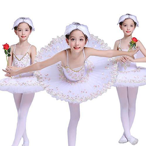 Kostüm Swan Kind White - HUO FEI NIAO Kinder Little Swan Dance Sling Ballett Rock Swan Lake Tutu (Farbe : Weiß, größe : 130cm)