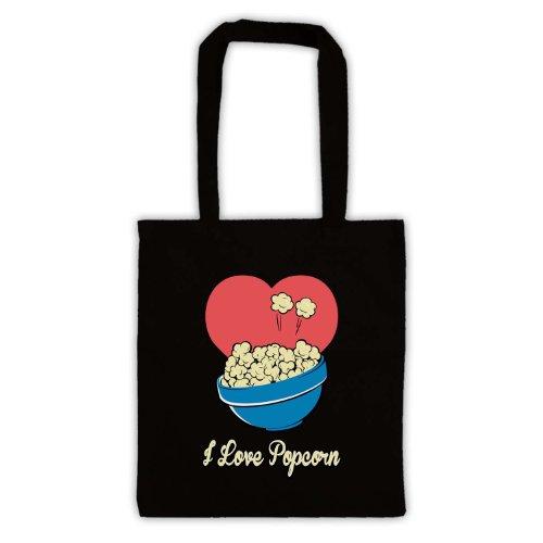 """Scritta in inglese """"I Love Popcorn, stile borsa Nero"""