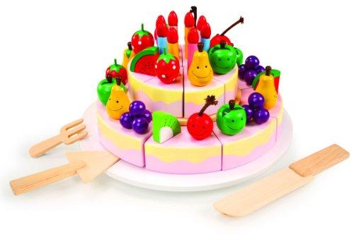 cortar el pastel de cumpleaños, 7794 - maravillosa colorido Accesorios de cocina niños - 16 Pedazos de pastel decorada con Frutas y Velas de madera - muchos conectable Piezas individuales promover la el motor Habilidades - un Producto de marca small ...