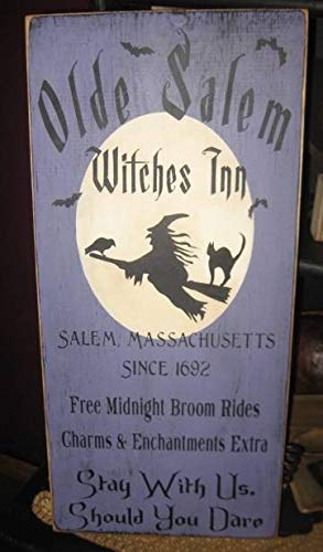 qidushop Dekoratives Holzschild Olde Salem Witches Inn Primitive Hexe Wiccan Halloween Schild Holz heidnisch schwarz magische Plakette Hexenkunst Deko Home Wall Art Plaque Craft
