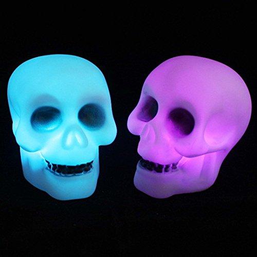 Nachtlicht FeiliandaJJ LED Halloween Schädel Farbwechsel Energiesparendes Dekoration Nachtlichter Haus Dekoration (Weiß)