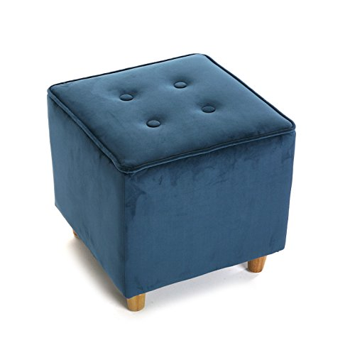 Versa 19880528 Puff Azul Mosa, 35x35x35cm, Algodón y madera, Reposapi