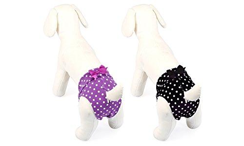 Schwarze Hundeschutzhose für Hündinnen mit weißen Tupfen- Gr. 2 (Bauchumfang 30 cm - lamnges Modell)