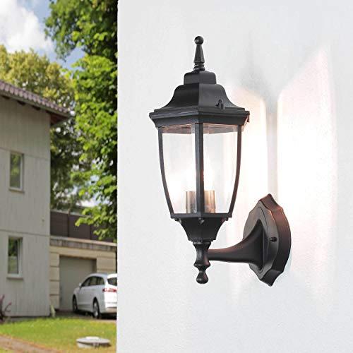 (Klassische Außenwandleuchte Schwarz Metall Glas H:38cm E27 wetterfest Balkon Terrasse Laterne außen)