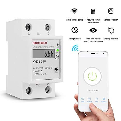 YICANG Consumo di elettricità digitale kWh Din Rail Smart Energy Meter WiFi Power Meter Watt Monitor Monitor Interruttore remoto 90-250V