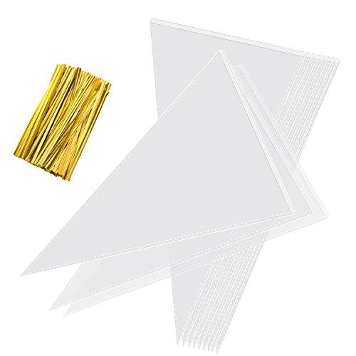 one Tüte Süßigkeitentüten OPP Tütchen, Durchsichtig Kegel Taschen mit 100 Stück Golde Bindestreifen für Schokolade, Bonbons, Puffreis ()