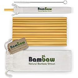 Bambaw Pailles en Bambou de 22 cm | Pailles écologiques, biodégradables et réutilisables | Fabriquées à la Main à Bali | Inclus Une Brosse de Nettoyage et Une Pochette de Rangement