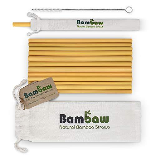 *Wiederverwendbare und natürliche Bambusstrohhalme - 12er Pack
