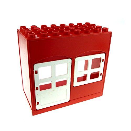 1 x Lego Duplo Gebäude Haus rot weiss 4x8x6 schmal Zimmer Tür Tor Fenster Puppenhaus 2205 2206 6431 (Weiße Gebäude Haus)
