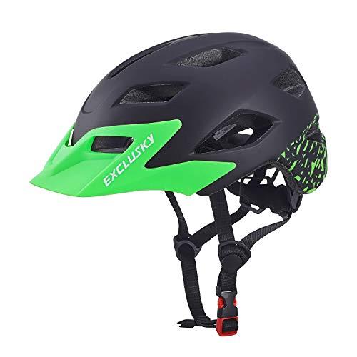 Exclusky Kinder Jugend Fahrrad Helm Skating Roller einstellbar 50-57cm (Alter 5-13) (Schwarz) -