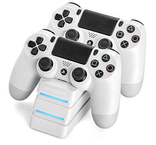 snakebyte Twin Charge Ladegerät - Twin Docking Station zum aufladen von 2 Dualshock 4 Controllern [PlayStation 4] weiß [PlayStation 4 ]