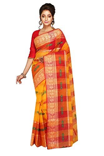 Badal Textile Cotton Saree, Traditional Bengali Wear (Yellow)