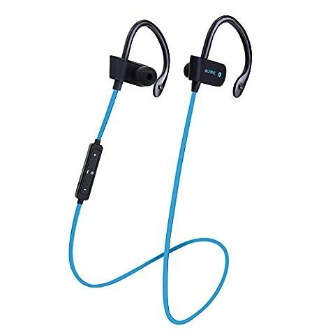 Dairyshop Bluetooth Kopfhörer, drahtlose Musik Sport Ohrhörer mit Mic, Flat Wire Ohr Haken Kopfhörer, blau