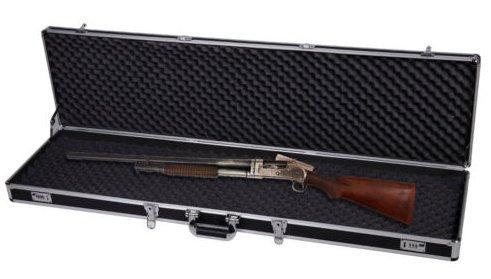 GOPLUS Aluminium Waffenkoffer, Gewehrkoffer, Gewehrtasche Waffenfutteral, Pistolenkoffer, mit Schaumstoffeinlage, abschließbar 133,5 x 34,5 x 11,5 cm, Farbewahl (Schwarz)