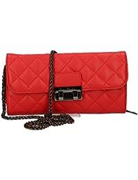 Cartera del bolso mujer de mano PIERRE CARDIN rojo cuero Made in Italy VN21