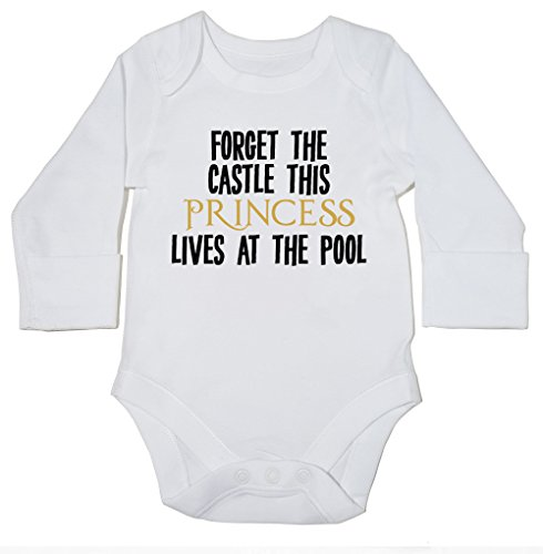 hippowarehouse-forget-the-castle-this-princess-lives-at-the-pool-baby-bodysuit-long-sleeve-boys-girl
