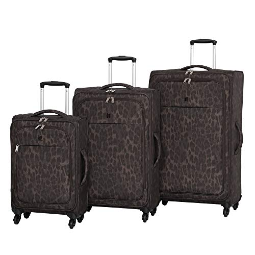 it luggage 3 Piece Set of Rosette 4 Wheel Lightweight Soft Suitcases Valigia 80 centimeters 260 Multicolore (Leopard Print)