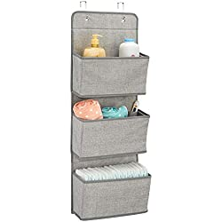 mDesign étagère de rangement avec 3 compartiments - meuble de rangement en tissu pour peluches, couches ou serviettes de bain - organiseur de chambre d'enfant à suspendre - couleur : gris