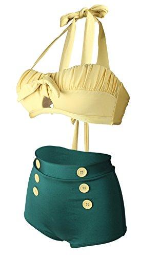 Gigileer Damen Retro Badeanzug Bademode Bikini Set hohe Teillen gelb & gruen L -