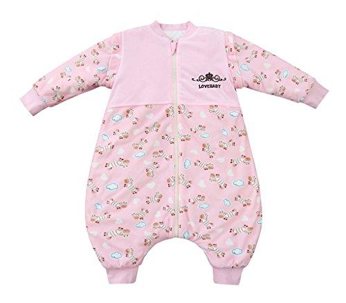 Chilsuessy Baby Schlafsack mit abnehmbar Ärmel Füßen Beinen Baumwolle Vierjahreszeiten Kinderschlafsack Winter Wattierter Außensack, Pink, L/Koerpergroesse 85-95cm