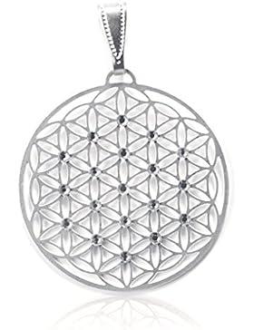 Schmuck Anhänger Blume des Lebens Ø 40 mm aus Edelstahl silber mit 19 Swarovski Elements Kristall, Lebensblume...