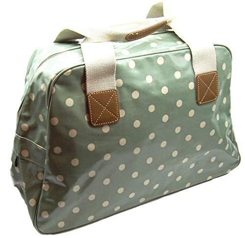 Overnight Bag Weekender Resetasche Übernachtungstasche Große Handtasche Sporttasche Spot Grün mit weißen Punkten 49 cm x 32 cm x 18 cm